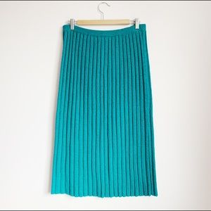 knit ribbed emerald mid-calf sweater midi skirt
